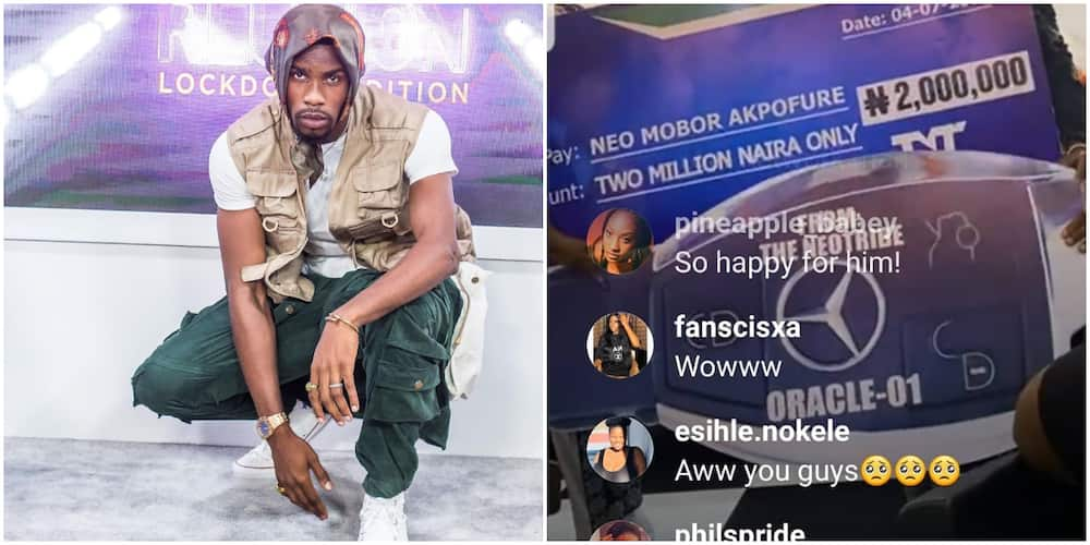 BBNaija: Neo gets cash and car gift from fans.