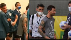 Dybala reacts after spotting Messi wearing photographer's vest during on-field chaos at Brazil vs Argentina game