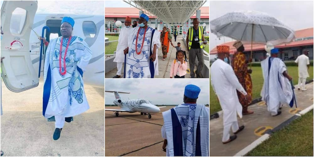 Nigerians react as top Yoruba monarch alight from private jet in lovely fashion, photos go viral