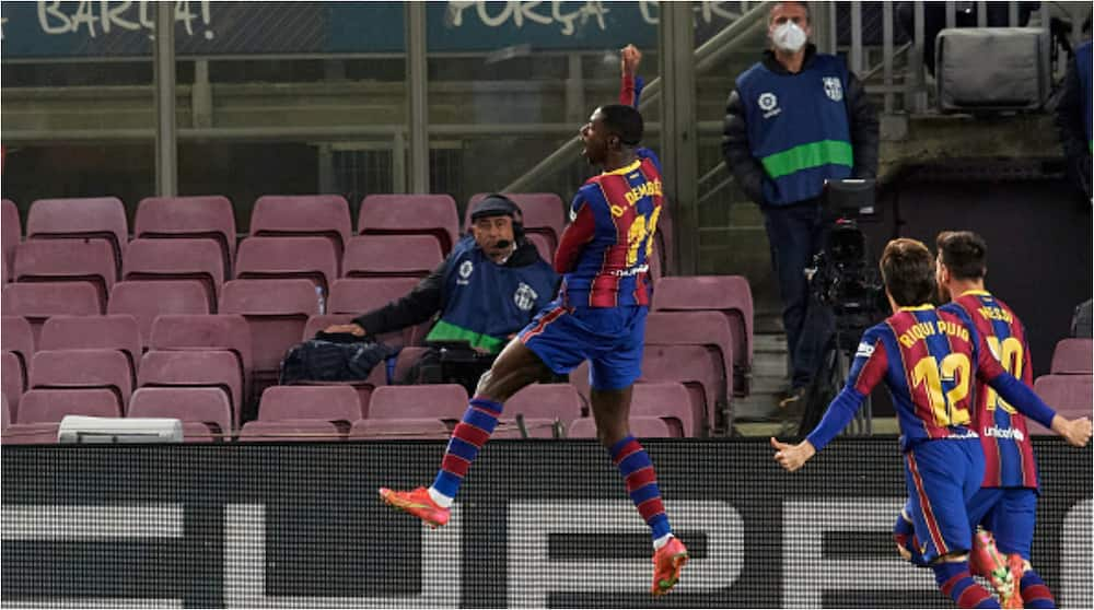 Ousmane Dembele leaves it late to keep Barca in the title race as Barcelona defeat Valladolid