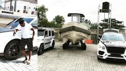 More drama as Obafemi Martins' fan flaunts one of his luxurious cars after Burnaboy shows off his car garage