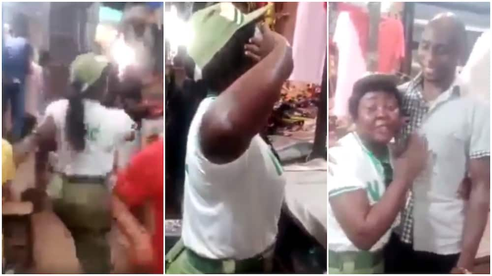 In the clip, the lady was dressed in her NYSC uniform.