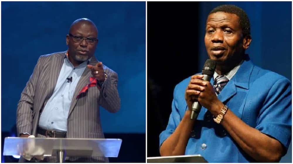 A collage of the pastor and the overseer of RCCG, Pastor E A Adeboye