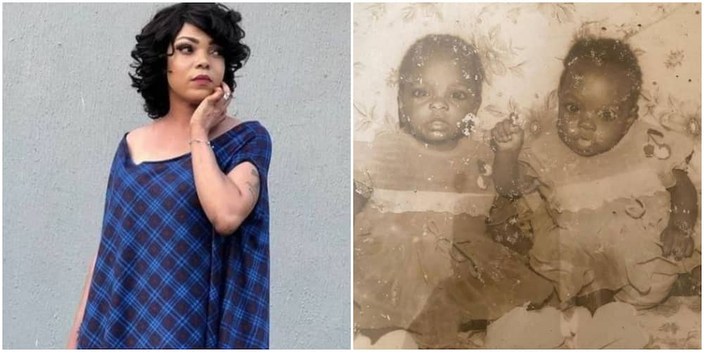 Nigerian filmmaker Kenny George shows off her twin in throwback baby photo