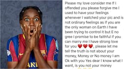 Unidentified man writes emotional love letter to Super Falcons star, says he is not after her money
