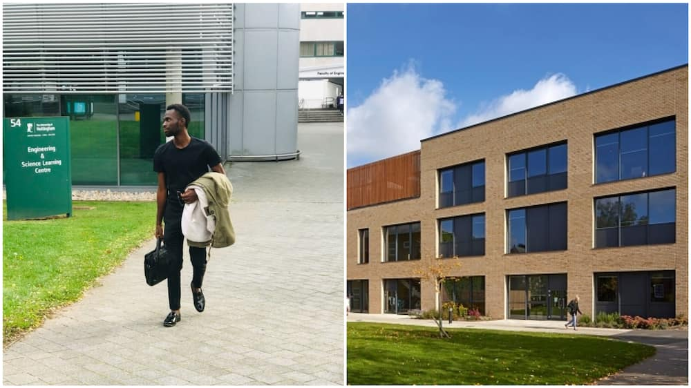 A collage of the UK university and the Nigerian man. Photo source: Getty Images/Edmund, LinkedIn/Gift Odoh
