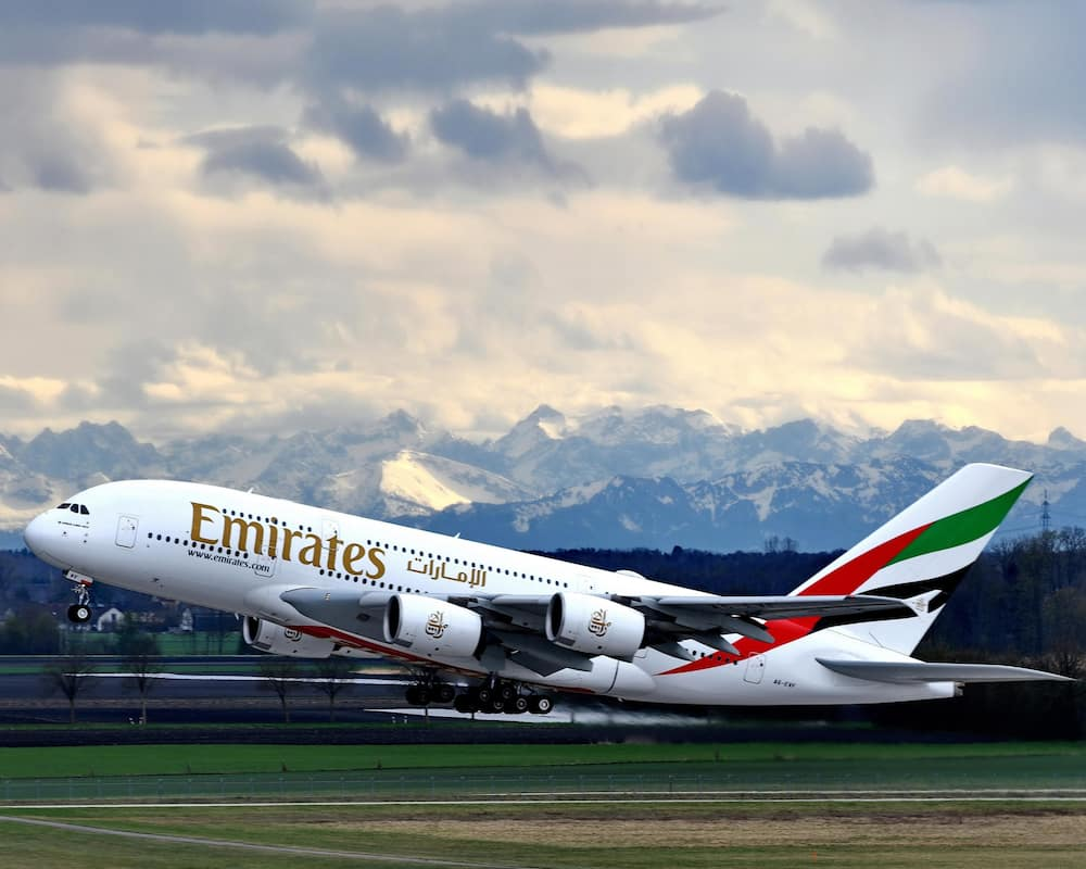 An Emirates aircraft taking off