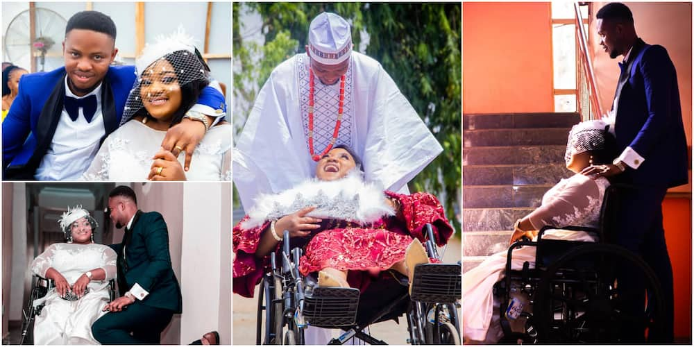 Adorable photos light up social media as physically challenged Nigerian pharmacist tie the knot with her lover
