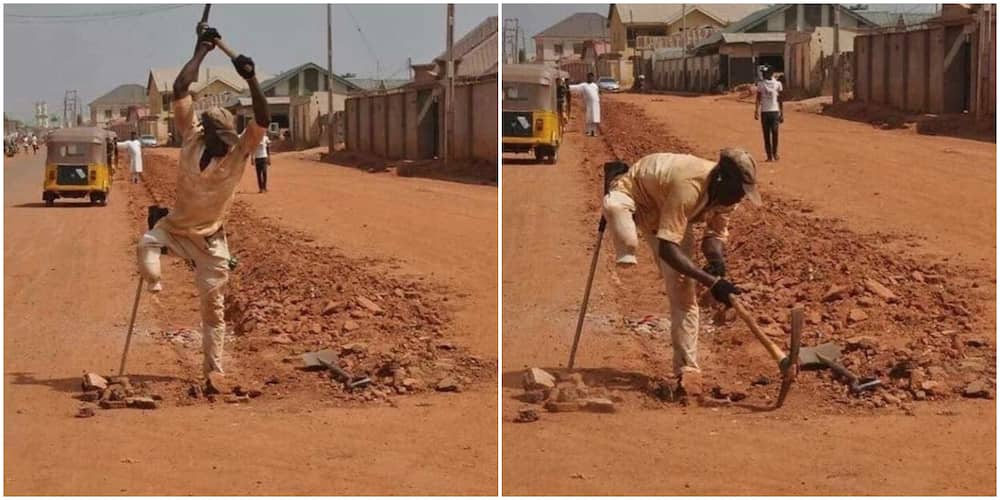 Photos of one-legged man working with a digger cause massive stir, Nigerians celebrate his courage