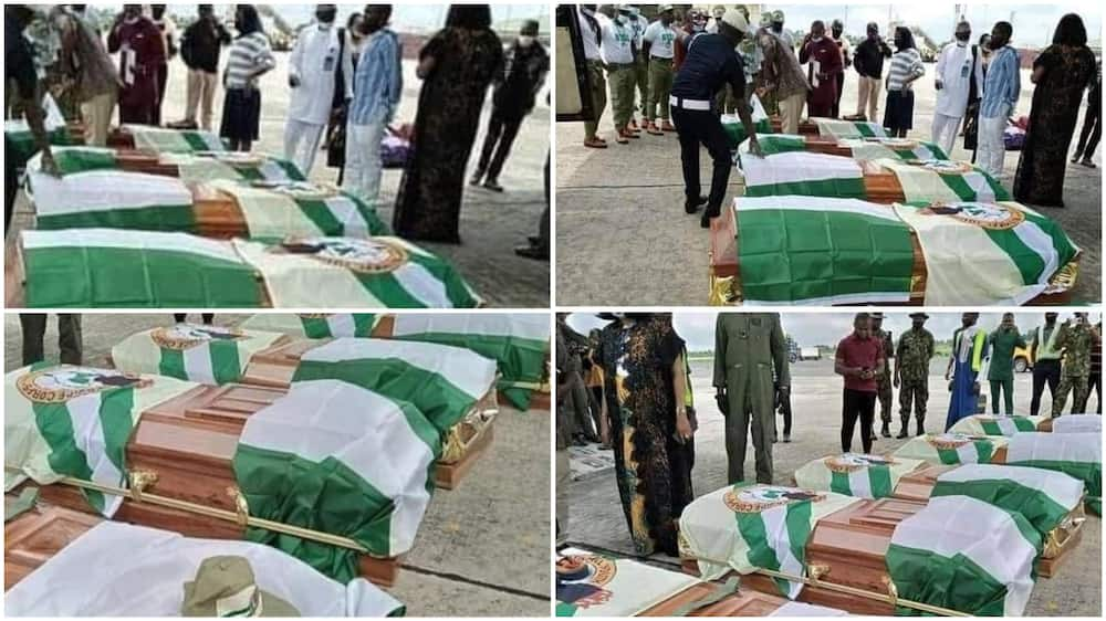Tears Military Aircraft Brings Home Bodies of Corps Members Who Died in Road Accident