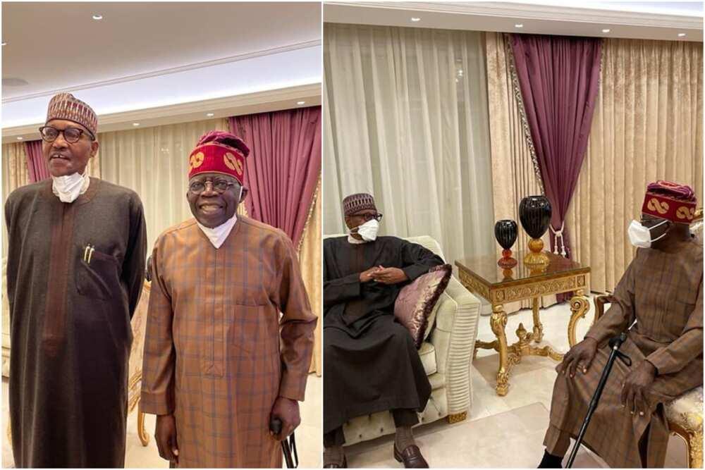 Breaking: Photos emerge as Buhari pays surprise visit to Tinubu in London