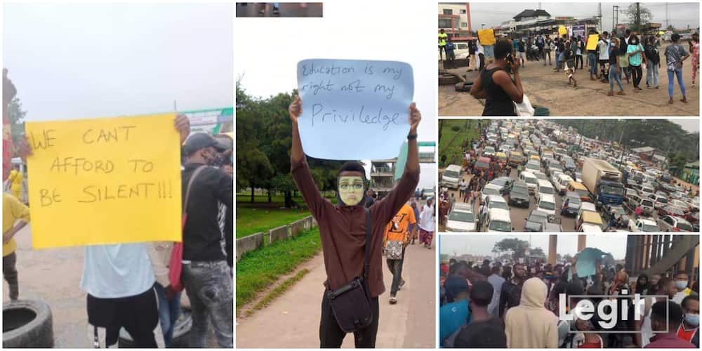 Unhappy UNIBEN students 'shutdown' campus as they protest new N20k school fees extra charge