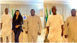 Regina Daniels, husband Ned Nwoko hosted by President of Sierra Leone, all three sighted in photos