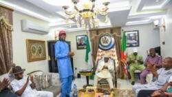 Super Eagles legend Nwankwo Kanu visits top Nigerian Governor, presents him special gift