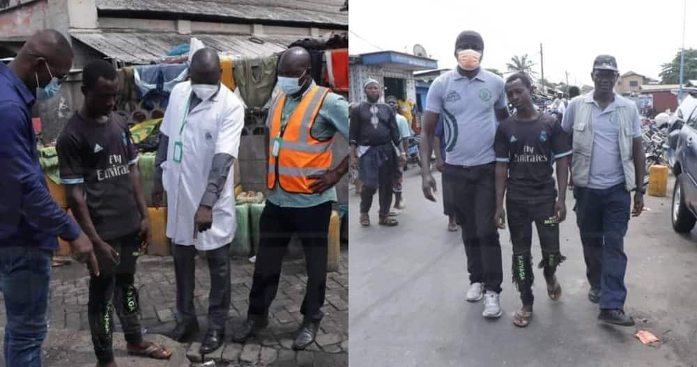 Young man Arrested by Accra Metro Health Inspectors for Throwing Plastic Waste into Gutter