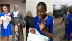 Joy as teenage girl who gave birth in Ondo prison regains freedom, adorable photos, video go viral