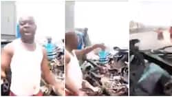 Nigerian man escapes death as trailer completely crushes his car, video of his vehicle sparks huge reactions