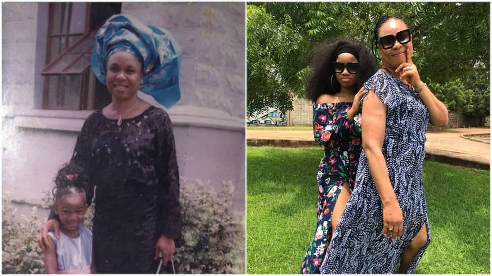 Photos of mother and daughter generates reactions, people praise mum's beauty