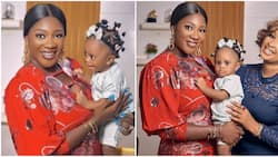 Mercy Johnson introduces herself as actress Etinosa's child's godmother as she finally meets the adorable girl
