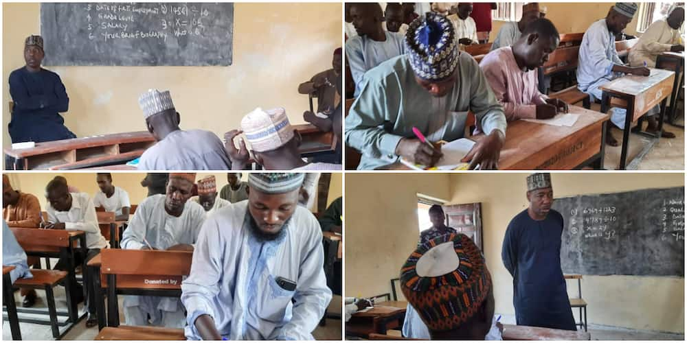 Nigerians react as governor visits school, sets impromptu test for teachers and invigilates them