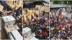 Aboki Cubana: Reactions as Nigerian man shows off bundles as he makes cash rain from compound balcony in video