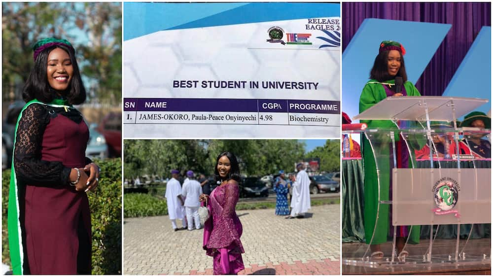 Nigerian lady bags degree in chemistry with 1st class, becomes best graduating student in CU with 4.98 CGPA