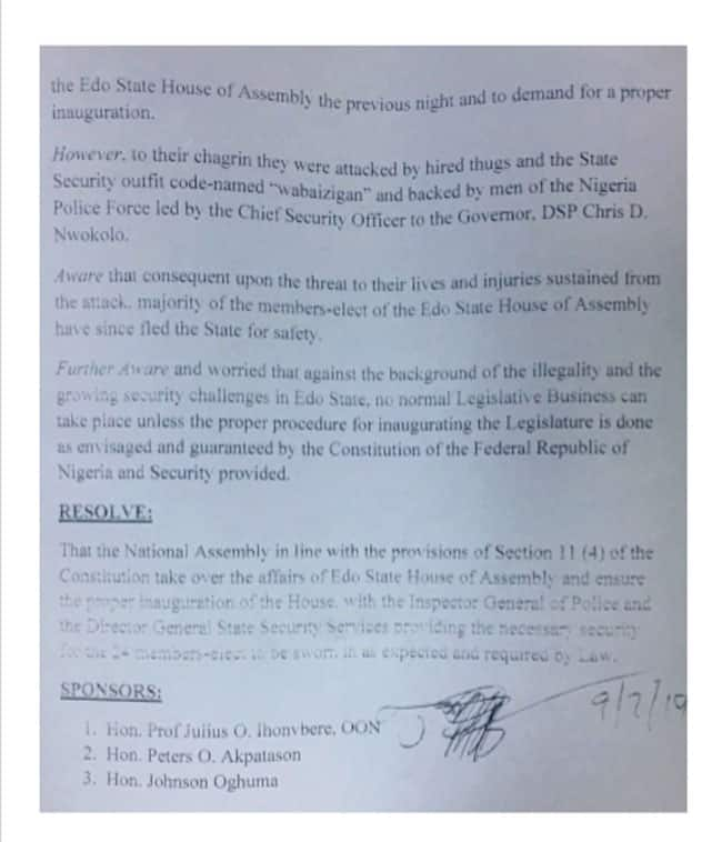 The second page of the letter shows the sponsors of the motion. Photo credit: Channels TV