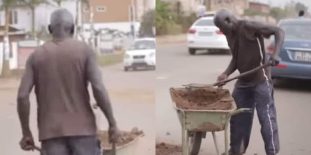 Abraham Ackom: Meet the 63-year-old man who fills potholes selling coconut to survive (Video)