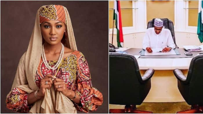 Zahra Buhari-Indimi spotted with her husband and father as they celebrate the president's re-election