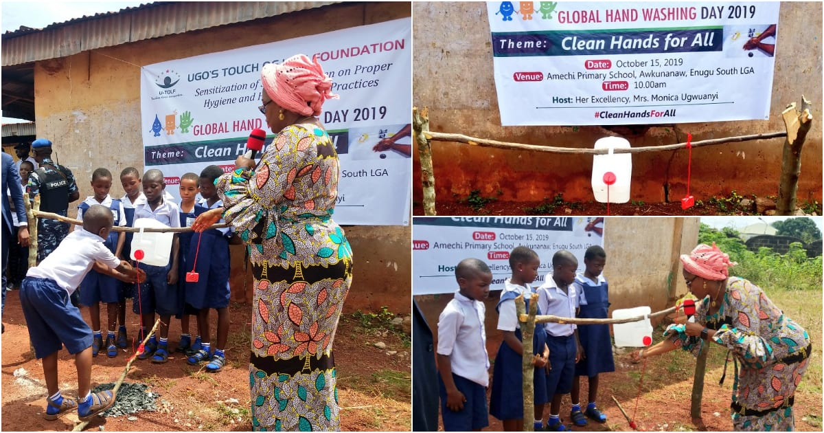 Global handwashing: First lady of Enugu constructs tippy taps for primary school students (photos) - Latest News in Nigeria & Breaking Naija News 24/7 | LEGIT.NG