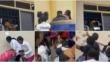 See people serious girlfriends: Reactions as video shows students scrambling for cash sprayed by colleagues