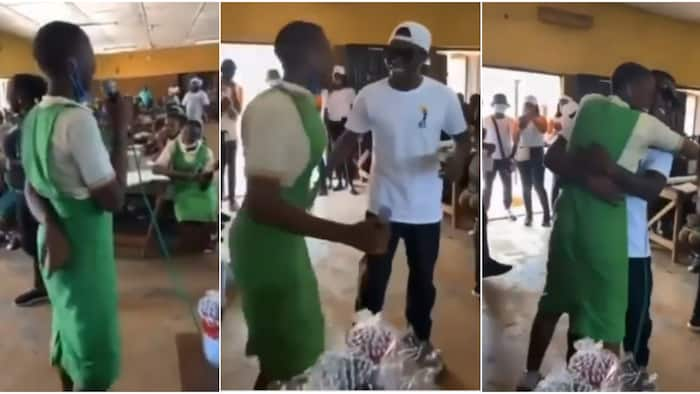 Female student jumps up in excitement, hugs Reekado Banks as he visits her school, video warms hearts