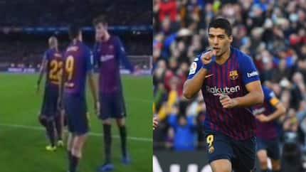Luis Suarez argue with Barcelona teammate Pique after disappointing defeat to Real Betis (photo)