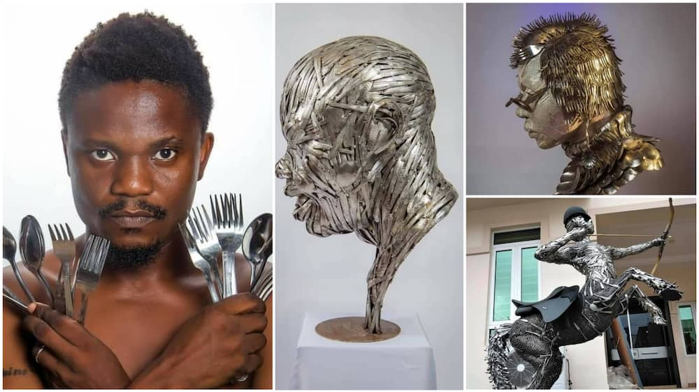 A collage showing the man and his masterpieces. Photo source: Instagram/Abinoro Akporode Collins