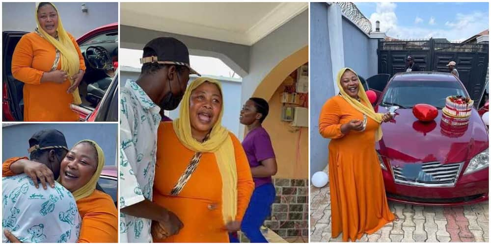 Priceless moment Nigerian woman blushes, hugs son tightly as he gifts her new car