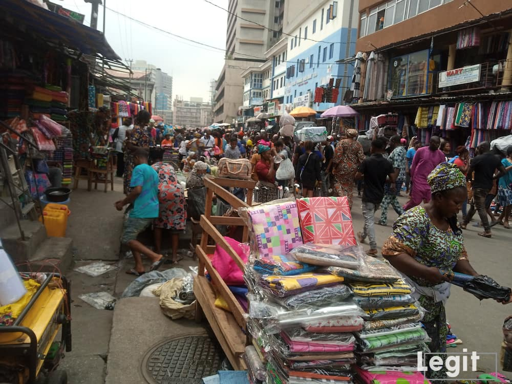 Clothing materials on display at a popular market in Lagos Island, Lagos. Photo credit: Esther Odili