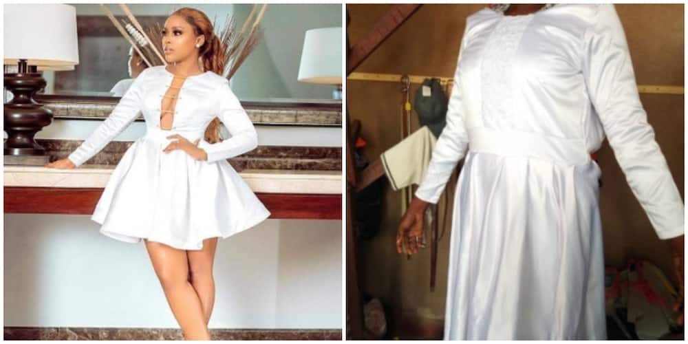 Lady shares photo of dress she ordered and what she received from a tailor
