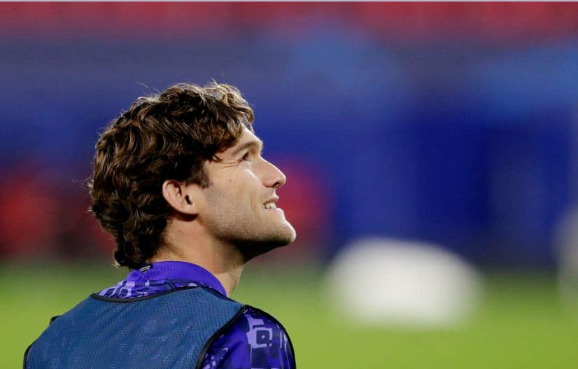 Marcos Alonso in action for Chelsea
