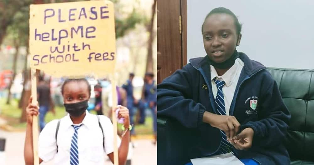 Joy as 15-year-old girl who had hit the street with placard to beg for school fees gets N168k and scholarship