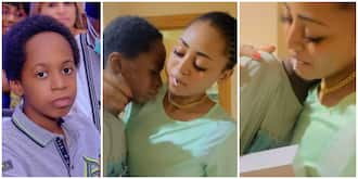 Sweet moment billionaire wife Regina Daniels stunned step son with a MacBook birthday gift in adorable video