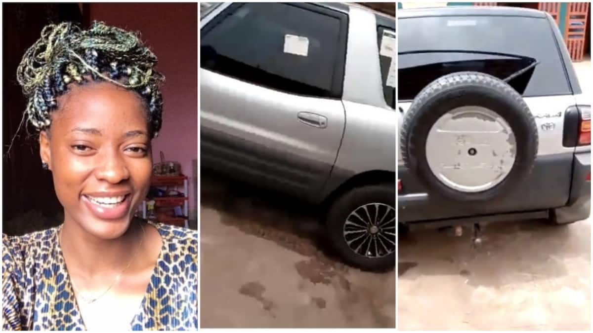 Nigerians react as lady shares video of car her anonymous admirer got her