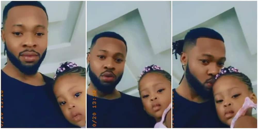 Nigerian singer Flavour and lookalike daughter