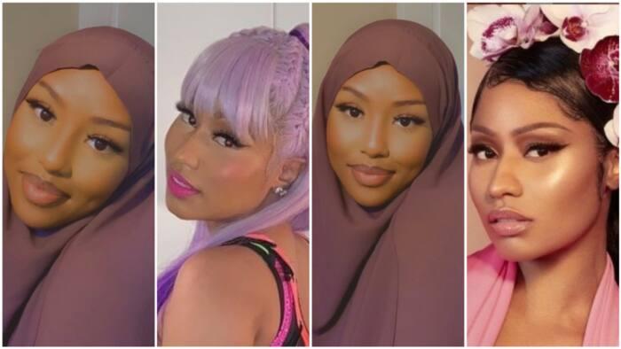 Matashiya sanye da hijabi ta wallafa hotunanta, ta nemi sanin ko da gaske tana kama da Nicki Minaj