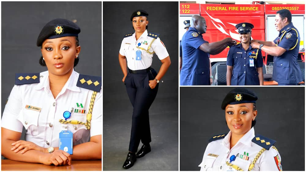 A collage showing the beautiful woman in her fire service uniform. Photo source: Twitter/@cutedoosh