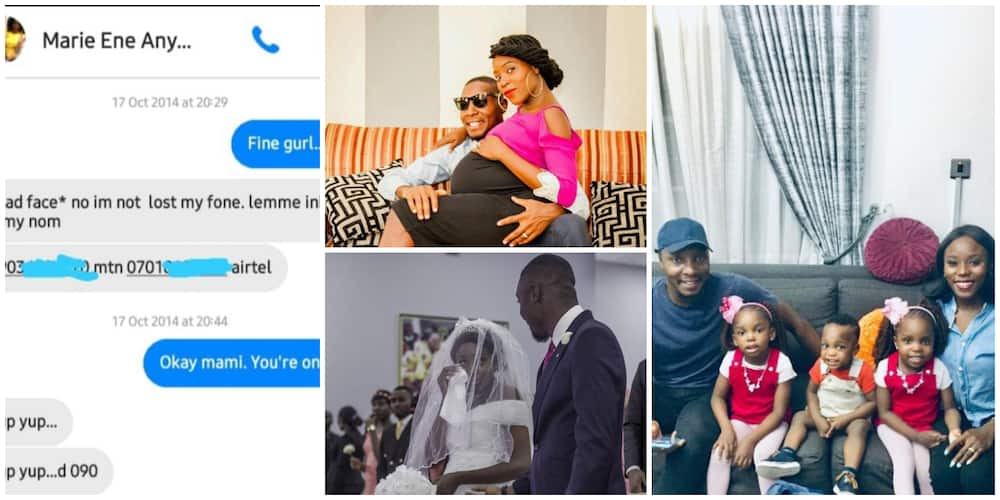 Nigerian man shares private chat he had with lady turned wife 7 years ago, family photo stir massive reactions