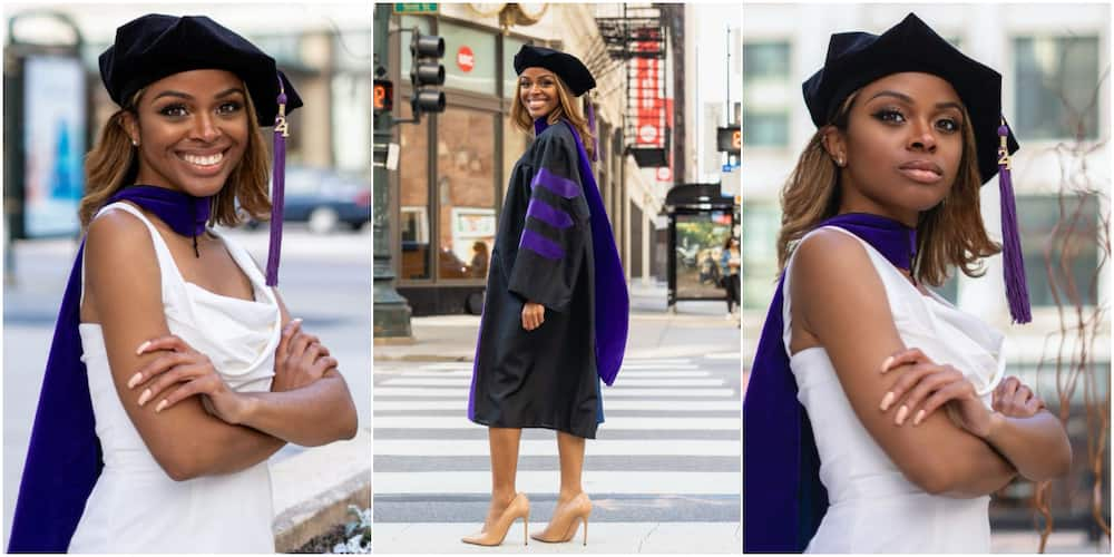 Young lady celebrates after graduating from law school, adorable graduation photos light up social media