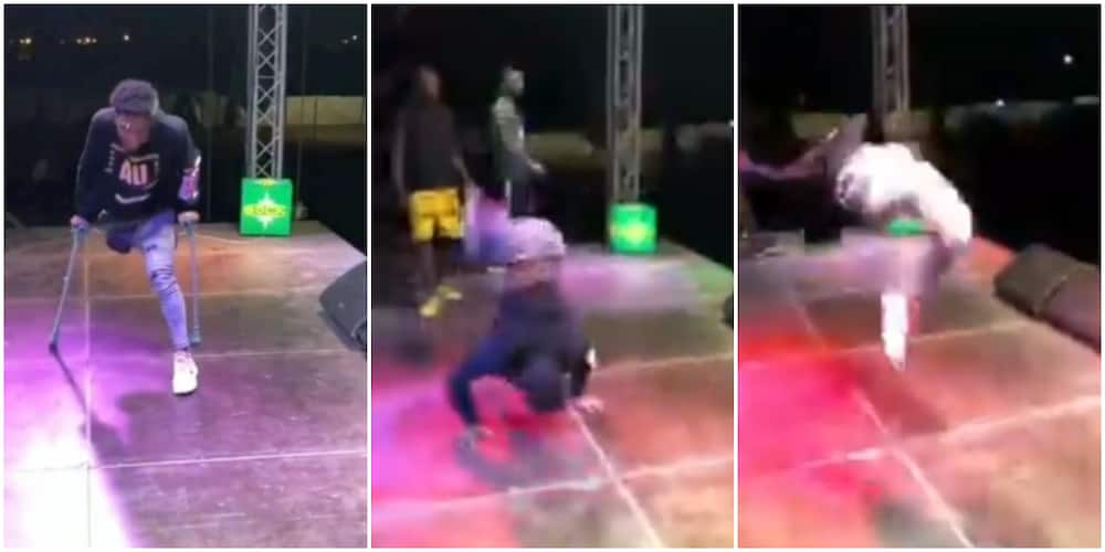 One-legged man thrills crowd as he throws away crutches, does legwork and backflip in video
