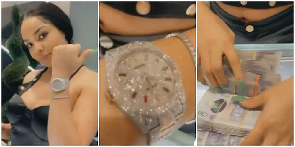 Where Una Dey See This Money? Reactions as Nengi Shows off Diamond-Encrusted Watch