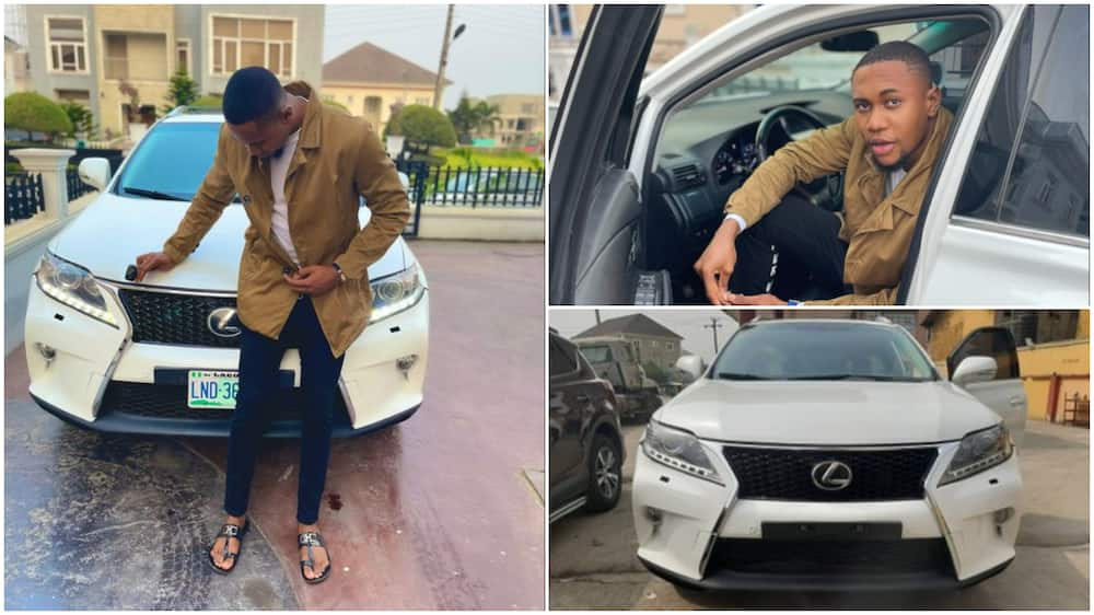 Young Nigerian man buys expensive car, calls it a little gift for himself