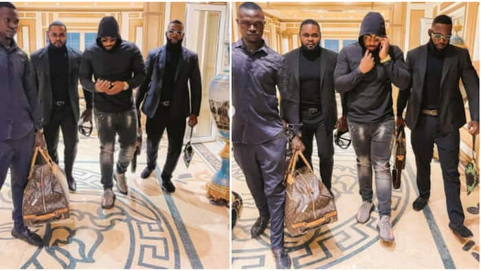 Big boy in the mud: Funny reactions as fans beg billionaire's son Kiddwaya to change bodyguard's old shoes